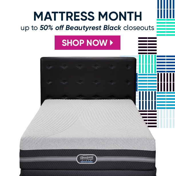 mattress month. up to 50% off beautyrest black closeouts. shop now