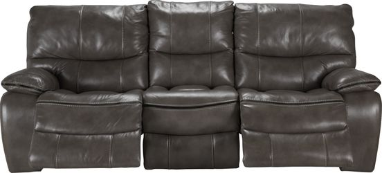 Cindy Crawford Home Gianna Gray Leather Reclining Sofa