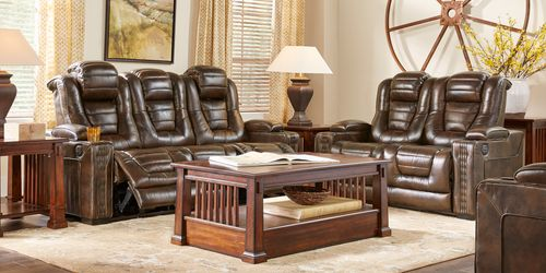 Eric Church Highway To Home Renegade Brown Leather 2 Pc Living Room With Dual Reclining Sofa