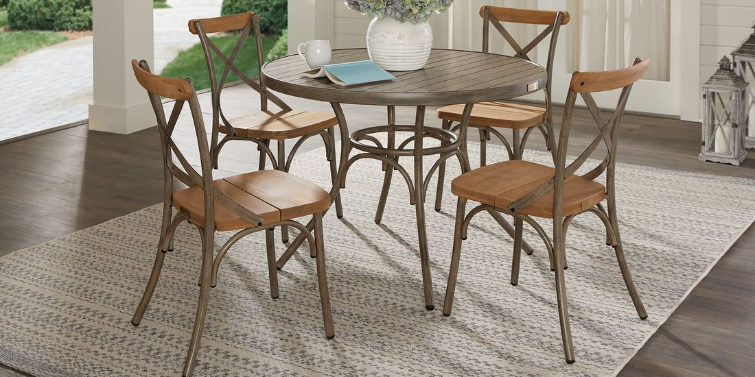 Outdoor Dining Set Round Table.French Cafe Brown 5 Pc 42 In Round Outdoor Dining Set