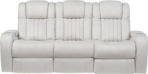 Servillo White Leather Dual Power Reclining Sofa