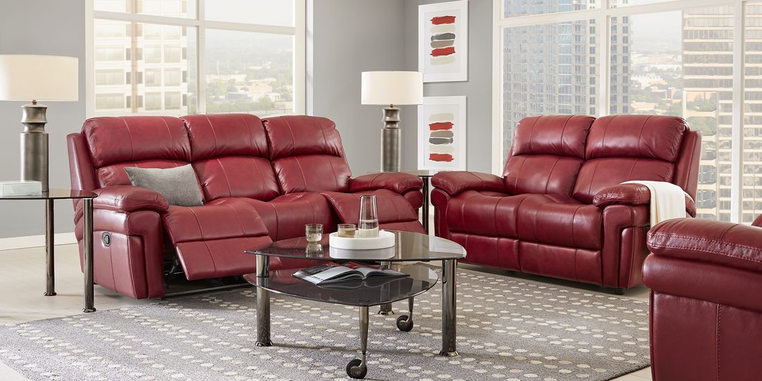 Trevino Burgundy Leather 3 Pc Living Room With Reclining Sofa