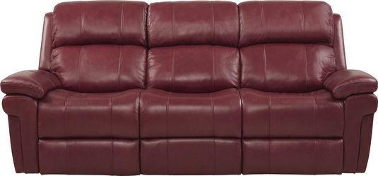 Trevino Burgundy Leather Dual Power Reclining Sofa